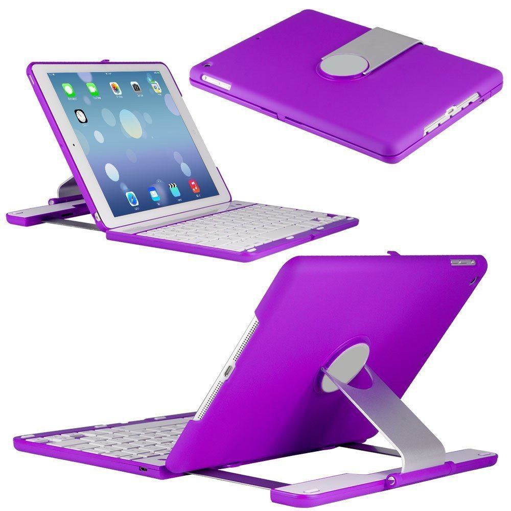 LuKa iPad Keyboard Case Station PURPLE Bluetooth Keyboard For iPad Air with IOS Commands. Folio Style Cover with 360 Degree Rotating Viewing Stand Feature (ipad air, purple)Customer review and more description