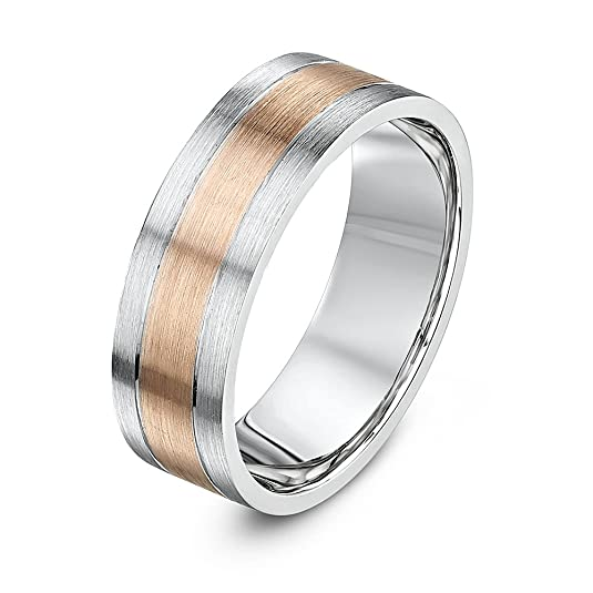 Theia 9ct White Gold with 9ct Rose Gold Inlay - Flat Court Shape, Matt Finish - 6 mm Wedding Ring
