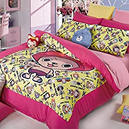 MeMoreCool Home Textile Japanese Popular Anime One Piece Pink Cute Chopper Bedding Set Cartoon Quilt Cover Kids Students Bedding Set Girls Boys Bed Sheets Full Size 4Pcs