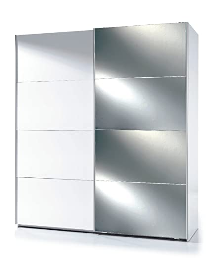 Savona White Gloss Mirrored Sliding Door Wardrobe by furniturefactor