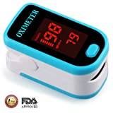 Fingertip Pulse Oximeter Portable FDA Approved Digital Blood Oxygen and Pulse Sensor with Alarm SPO2 (Blue) (Color: Blue)