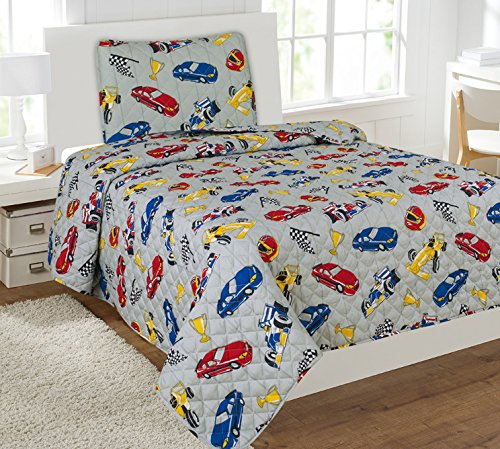Mk Collection 5 Pc Twin Bedspread Boys Racing Cars with Sheet Set New