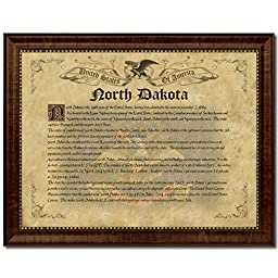 North Dakota State Vintage History Flag Art Canvas Print Custom Picture Frame Collectible Office Wall Home Decor Interior Design, 18\