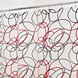 InterDesign Dizzy Shower Curtain + FREE Matching Rings, 70-Inch by 71-Inch, Black/Red