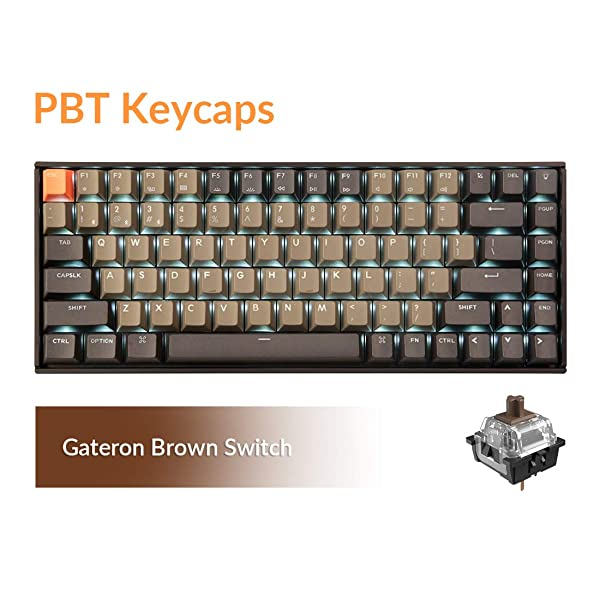 Keychron K2 Bluetooth Wireless Mechanical Keyboard with Double Shot PBT Keycaps/Gateron Brown Switch/White LED Backlit/Anti Ghosting/N-Key Rollover, 84 Key Tenkeyless Keyboard for Mac Windows (Color: PBT Keycap Brown Switch)