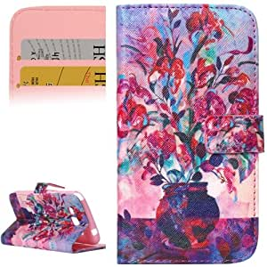 Vase Pattern Leather Case with Holder and Card Slots for Samsung Galaxy Grand 2 / G7106