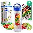 Fruit Infused Water Bottle (Blue) 24 Ounce BPA-free non-slip plastic + Free Recipe Ebook