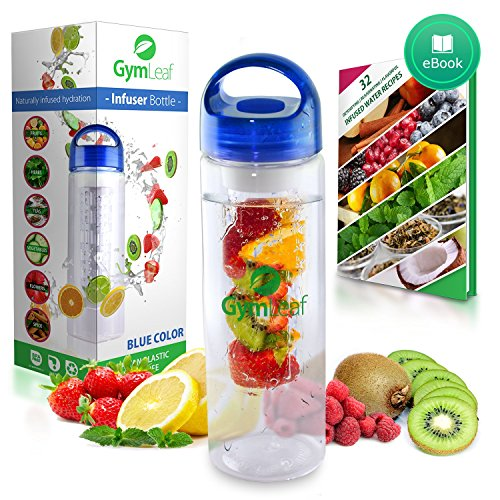 Fruit Infused Water Bottle (Blue) 24 Ounce BPA-free non-slip plastic + Free Recipe Ebook (Glass Fusion Pitcher compare prices)