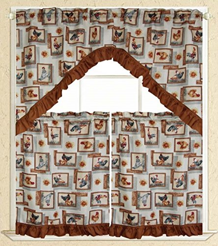 Elegance Linen® Embroidered 3-Piece Kitchen Curtain Window Treatment Set - 2-Tiers : 30