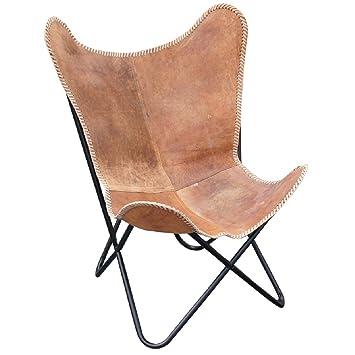 Design Lounge Butterfly Stuhl aus Rindsleder Sessel Butterfly Chair Faltstuhl Lederstuhl Ledersessel