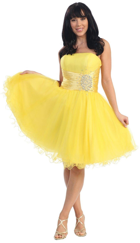Model Dresses: Strapless Cocktail Party Junior Prom Dress