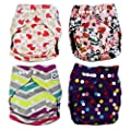 QTPIE Cloth Pocket Diapers with Inserts and Wet Bag, Adorable 10 Piece Set