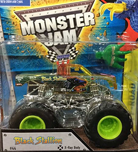 2015 Hot Wheels Monster Jam X-Ray Body Edition Black Stallion #44 with Slammer (Backwards Bob Monster Truck compare prices)