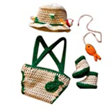 Newborn Photography Props Baby Photo Outfits Crochet Kintted Fisherman Set (Color: Green, Tamaño: M)
