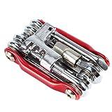 PGMJ All-in-1 Bike Multitool Pocket Bike Tool kit Multi Repair Tools Kit Wrench Bike Repair Tools (Red) (Color: Red)