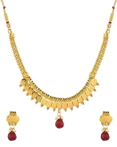 Voylla Golden Metal Necklace Set For Women at amazon