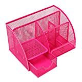 Multipurpose Metal Mesh 6 Compartment Desk Organizer Office Supply Caddy (Pink)