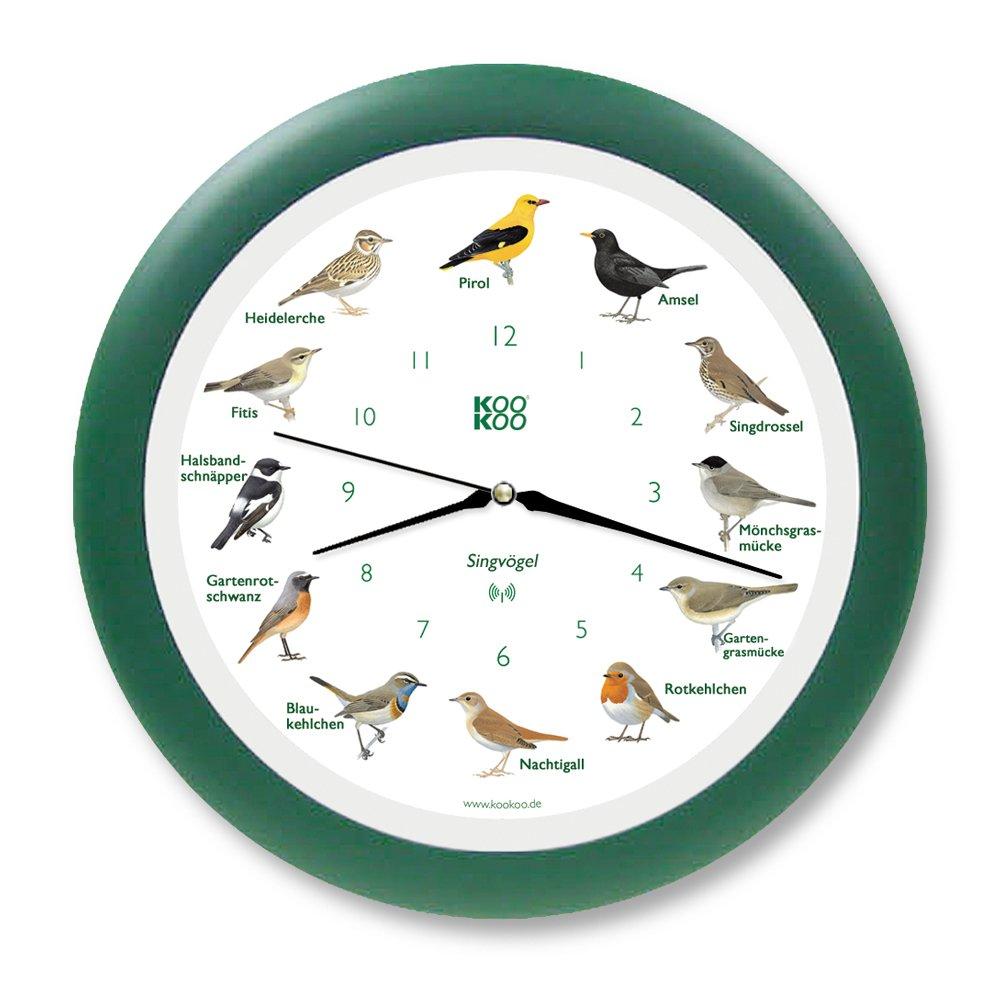 Wanduhr Singvögel grün mit RC Funkquarzwerk    Kundenbewertung:
