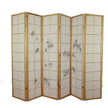 paravent de 6 6 pans en bois avec dessin bambou coloris coloris noir pegane cuisine. Black Bedroom Furniture Sets. Home Design Ideas