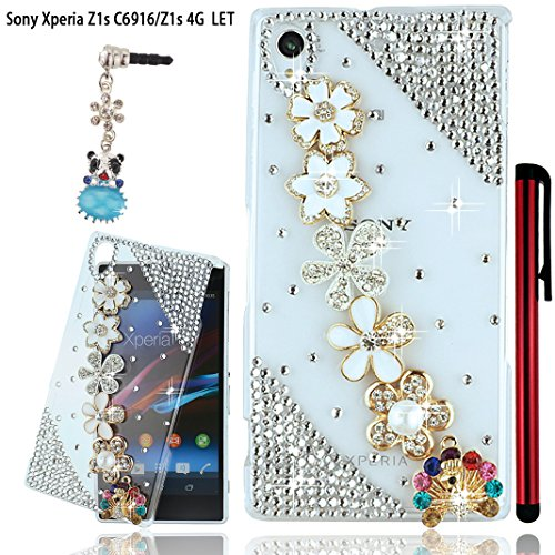 Ancerson Golden White Camellia Pearl Silvery Crystal Blossom New Stylish Luxury 3D Diy Glitter Green Blue Red Pink Purple Diamond Protective Hard Back Case Cover Free With A Red Stylus Touchscreen Pen, A 3.5Mm Universal Crystal Diamond Rhinestones Bling L