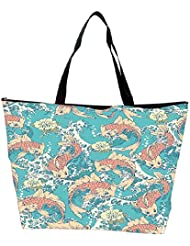 Snoogg Abstract Fish In Sea Designer Waterproof Bag Made Of High Strength Nylon
