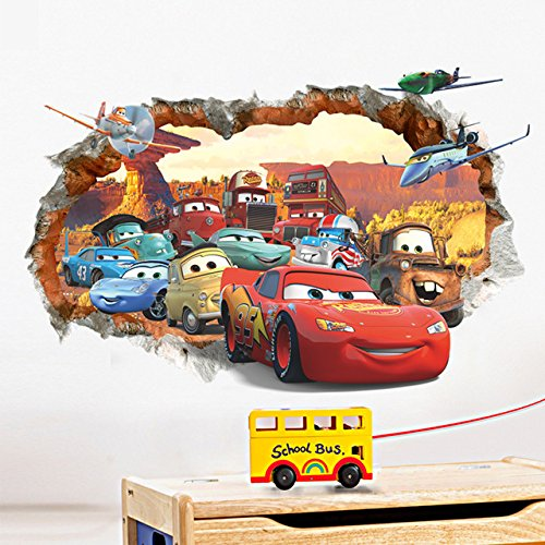 Car general mobilization 3D broken wall children's bedroom wall stickers (Salt Life Car Decal Large compare prices)