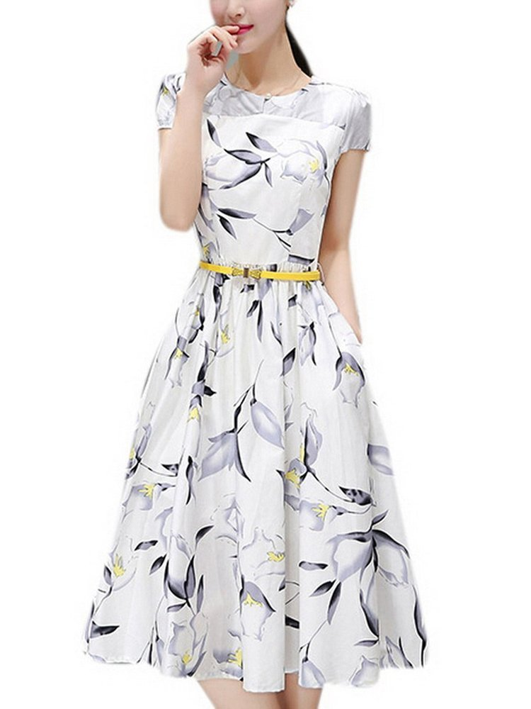 Olrain Womens Vintage Floral Printed Cap Sleeve Tea Dress with Belt 0