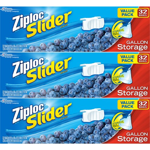 Ziploc Slider Storage Bags Gallon Value Pack 32 ct (Pack Of 3) (Ziploc Gallon Bags Freezer compare prices)