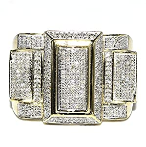 Diamond Ring for Men Wide 18mm 0.72ct 10K Yellow Gold Fashion Pinky Ring