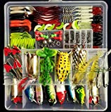 Fishing Tackle Set,PortableFun® Fishing Baits Kit Lots With Free Tackle Box,For Freshwater Trout Bass Salmon
