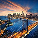 Pitaara Box Sunset Over Manhattan And Brooklyn Bridge, New York, USA - MEDIUM Size 18.0 Inch X 18.0 Inch - UNFRAMED...