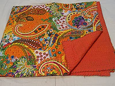 Tribal Asian Textiles Multicolor Paisley Print King Size Kantha Quilt , Kantha Blanket, Bed Cover, King Kantha bedspread, Bohemian Bedding Kantha Size 90 Inch x 108 Inch 012