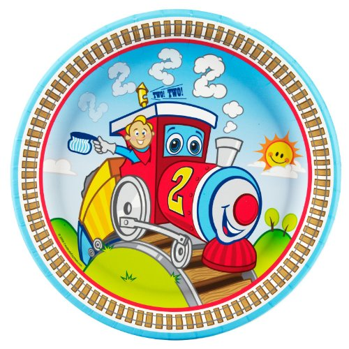 Party Destination 234355 Two-Two Train 2nd Birthday Dinner Plates