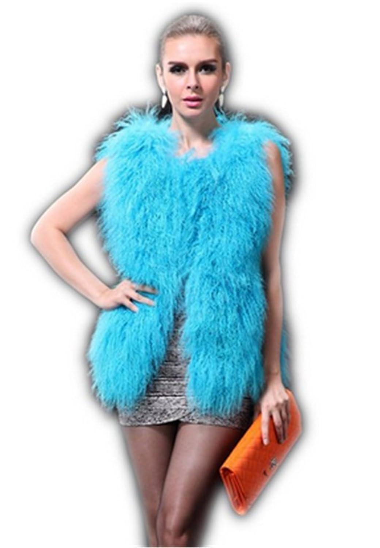 YR Lover Damen Warm Echter Schaf Fuchs Pelz Winter Weste Mantel bestellen