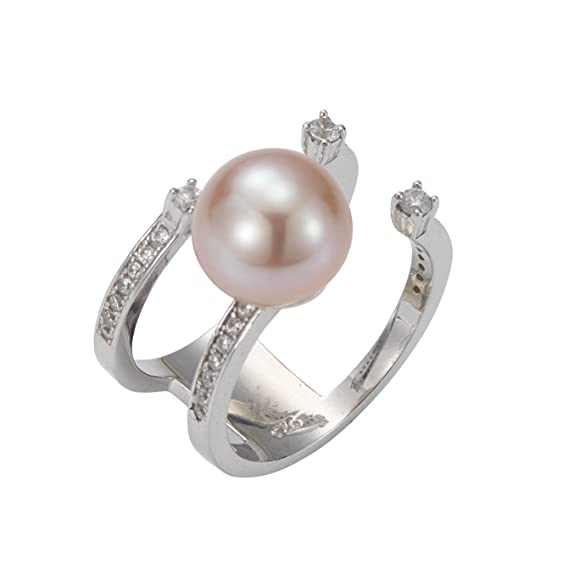 Adriana La Mia Perla Premium Natural Women's Ring 925 Silver Rhodium Plated Cubic Zirconia Brilliant Cut Pink Freshwater Cultured Pearl Ring Size 54 (17.2) - PR7 44