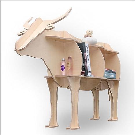WSZYD animales creativo bovina lateral en forma de unos estantes estante de librería de madera decoraciones ornamentos caseros 142 * 42 * 92cm