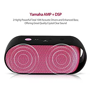 Lepow Rain Series Portable IPX6 Waterproof Bluetooth Speaker Enhanced Bass with NFC 10W Output Power Wireless Stereo Outdoor / Shower Speakers Built-in Microphone, 3.5mm Jack, 10-Hour Playtime (Pink) from Lepow