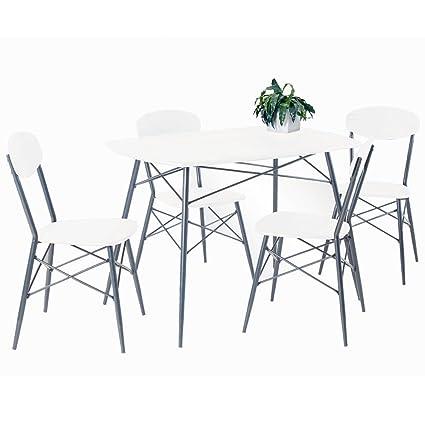 Essgruppe LARA Esstisch 4 Stuhle Tischgruppe Sitzgruppe weiß silberfarben