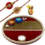 Charming Red Base Kundan Studded Rakhi Pooja Thali With Set Of 2 Rakhis