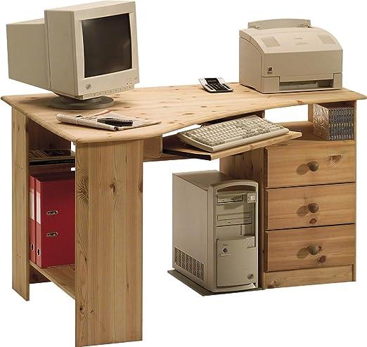 Meuble de bureau en pin massif coloris naturel huilé, 73 x 133 x 95 cm -PEGANE-