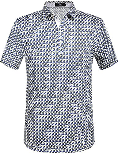 SSLR Men's Individual Printing Polo Shirt (Medium, White Blue)