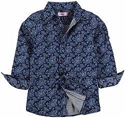Oye Girls Printed Denim Tunic Shirt - Blue (3-4Y)
