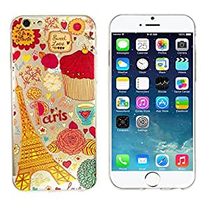 """iPhone 6/6S Case, iRonsnow(TM) Ultra Thin Clear Art Pattern Crystal Gel TPU Rubber Flexible Slim Skin Soft Case for Apple iPhone 6 6S 4.7""""-Retail Package (Design 5, iPhone 6 4.7)"""