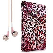 buy Vangoddy Women'S Pink Leopard Carrying Bag Case For Zte Grand X Max+ / Imperial Ii / S Pro / Speed + Vangoddy Headphones
