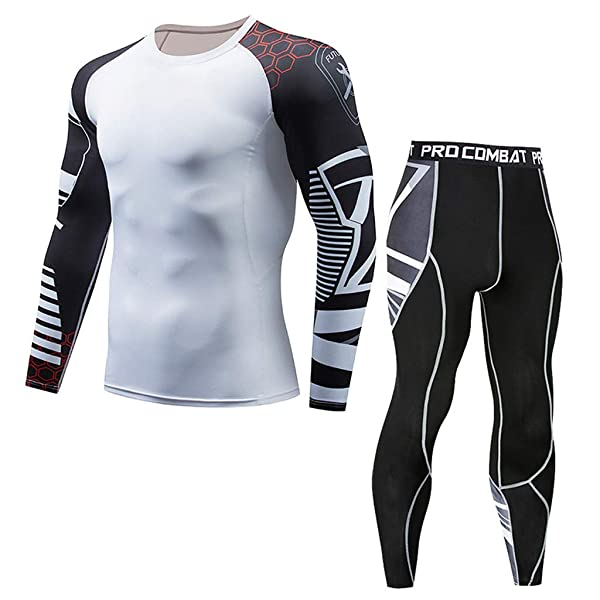 Mens Athletic Lightweight Fitness Sports Suit Long Sleeve Shirt Pants