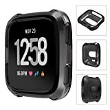 Fitbit Versa Cover Case, YaSpark Luxury Soft TPU Protection Silicone Full Protective Frame Shock Resistant Case Cover for Fitbit Versa SmartWatch (Color: Black)
