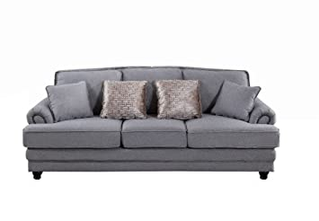 DERRYS Nicole 3-Seater Sofa, Wood, Grey