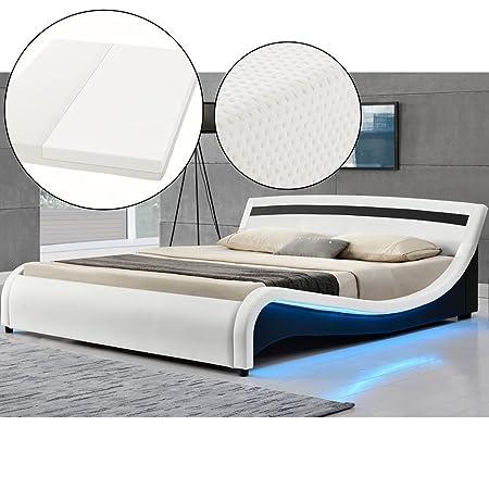 Polsterbett Malaga 140 x 200 cm LED Seitenteilen - weiß mit Kaltschaummatratze