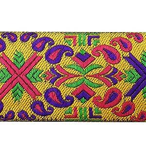 jacquard suministro elaboración cinta amarilla 5,0 cm cinta ancha sari por el patio
