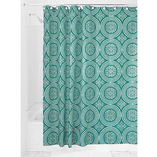 InterDesign Medallion Fabric Shower Curtain, 72 x 72, White/Deep Teal